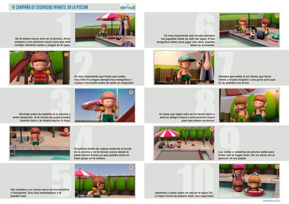 efb34fb36 Abrisud tiene en marcha su VI Campaña de Seguridad Infantil en la Piscina  con un vídeo animado en 3D que incluye las recomendaciones para que los  niños ...